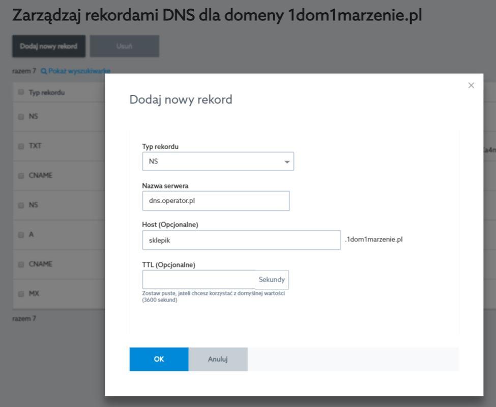 Panel klienta home.pl - Domeny - Opcje - Zarządzaj rekordami DNS - Dodaj nowy rekord - Wprowadź wartości rekordu DNS