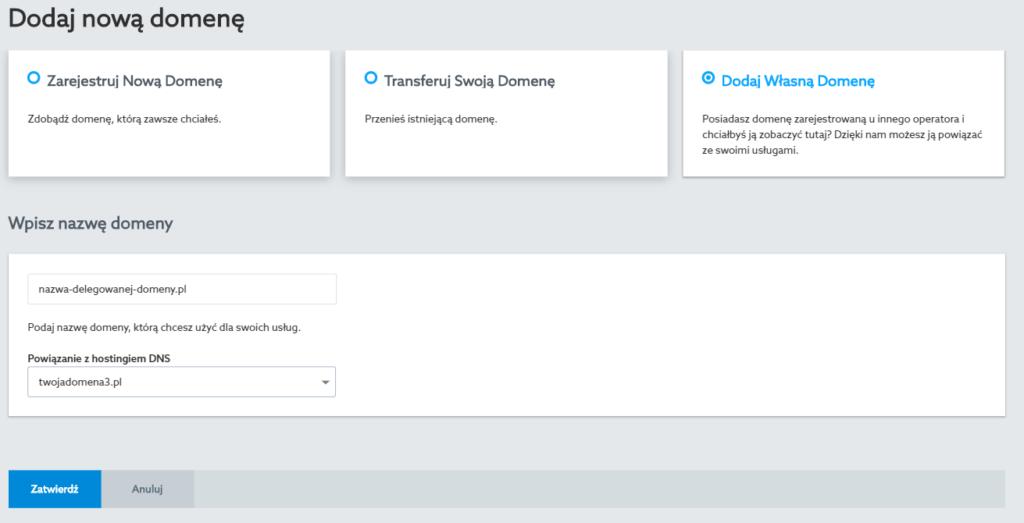 Dodawanie domeny do Panelu klienta home.pl - opcja: Dodaj własną domenę.
