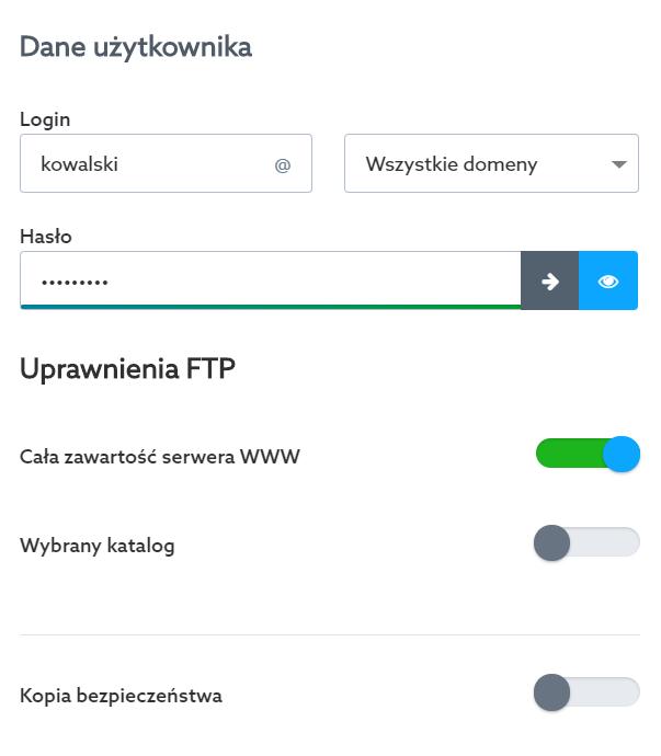 Panel klienta home.pl - Usługi WWW - Nazwa serwera - Konta FTP - Opcje - Lista kont FTP - Edytuj - Zmień ustawienia dla wybranego konta FTP