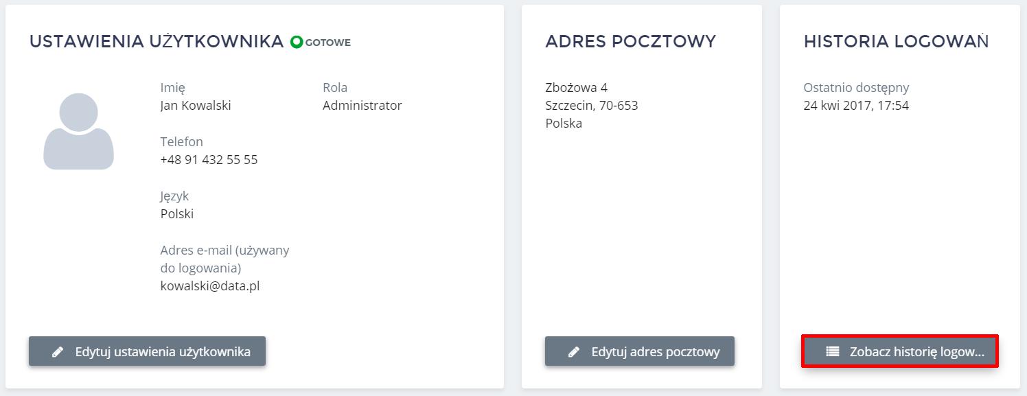 Panel klienta home.pl - Użytkownicy - Kliknij przycisk Zobacz historię logowań