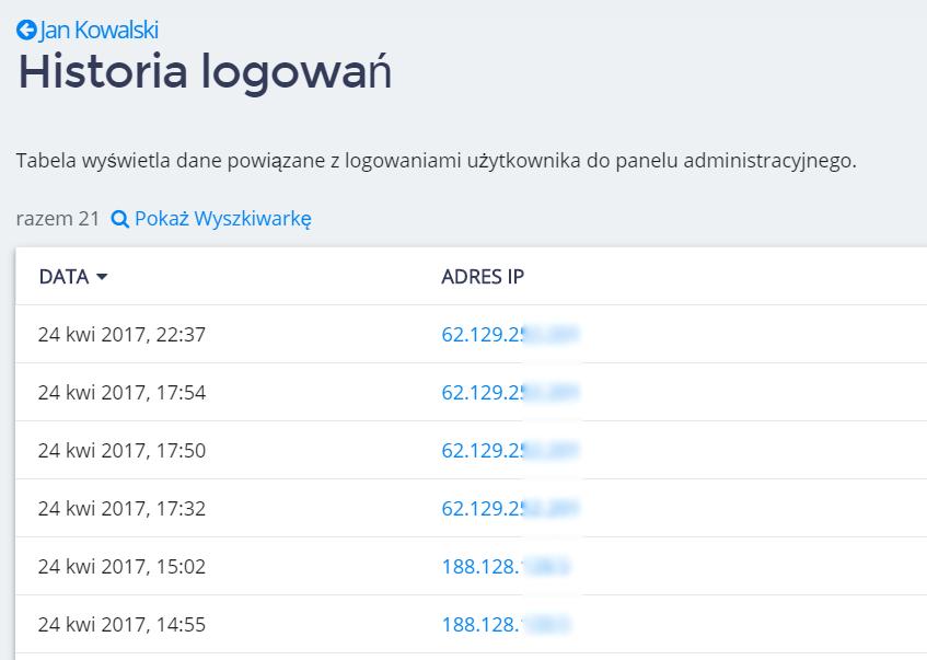 Panel klienta home.pl - Użytkownicy - Zobacz historię logowań - Lista ostatnich logowań dla wybranego użytkownika