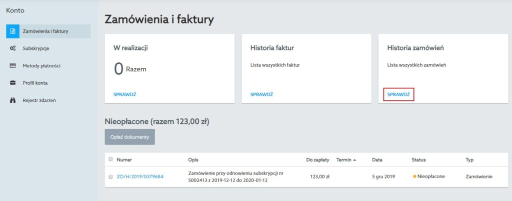 panel klienta home.pl - zamówienia i faktury - historia zamówień - sprawdź