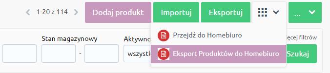 eSklep - Asortyment - Produkty - Menu aplikacji - Wybierz opcję Eksport produktów do eKsięgowości