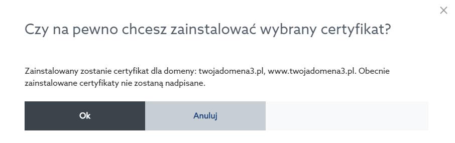 Panel klienta home.pl - Usługi WWW - Wybrana usługa - Serwer WWW - Ustawienia - Certyfikaty SSL - Zainstaluj - Potwierdź chęć instalacji wybranego certyfikatu