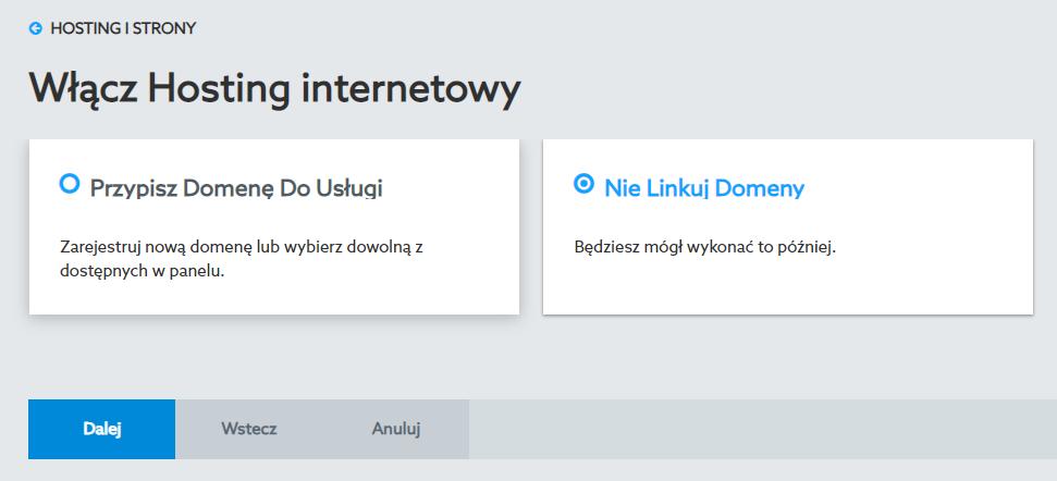 Funkcja przypisywania domeny podczas zamawiania hostingu w home.pl.