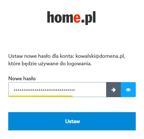 Home.pl - Formularz zmiany hasła - W polu Nowe hasło wpisz propozycję nowego hasła dla wskazanego konta