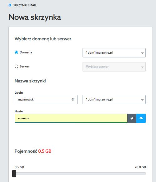 Home.pl Customer Panel - Mail - Add - New mailbox - Select the domain or server where you want to create the email