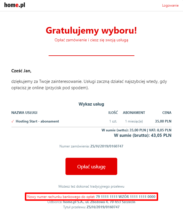 Numer konta do płatności znajdziesz w wiadomości, która została wysłana na Twój adres e-mail.