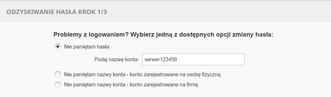 Panel Klienta home.pl - Okno logowania - Odzyskaj hasło - Identyfikator usługi - Odzyskiwanie hasła krok 1/3 - Wpisz ponownie identyfikator i korzystaj ze wskazówek wyświetlonych na ekranie
