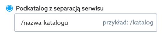 Przekieruj swoją domenę na katalog z separacją serwisu