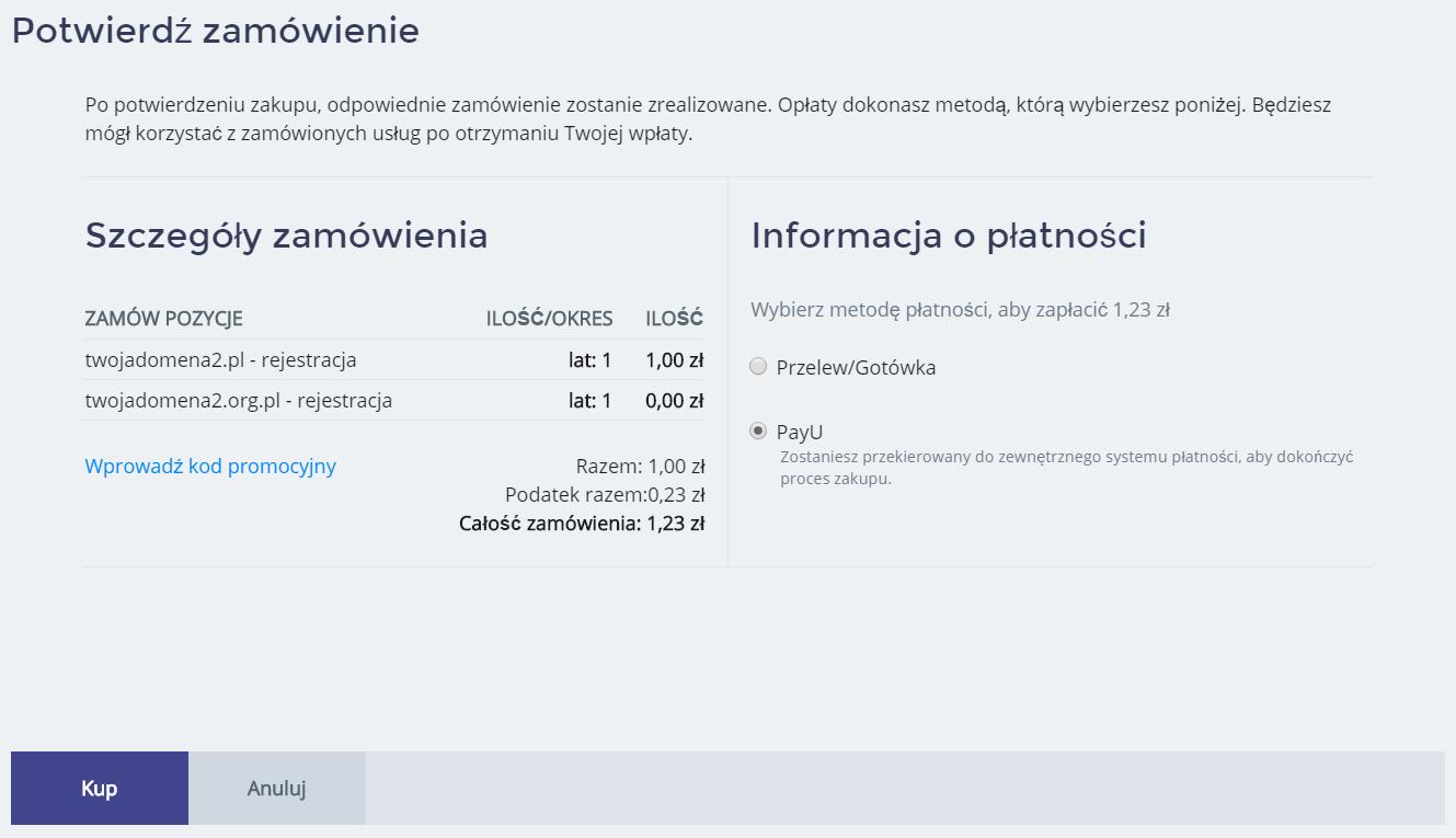 Panel klienta home.pl - Domeny - Dodaj nową domenę - Zarejestruj nową domenę - Znajdź domenę - Zatwierdź - Podsumowanie zamówienia - Wybierz metodę płatności i kliknij przycisk Kup