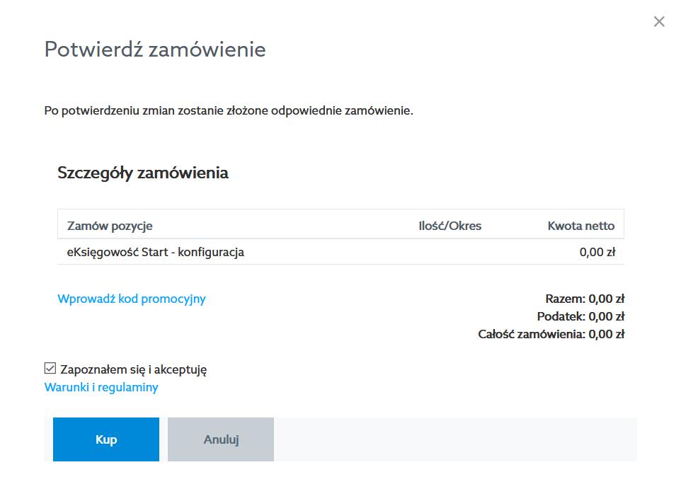 Zaakceptuj warunki i regulaminy i kliknij przycisk: Kup, aby potwierdzić zamówienie.