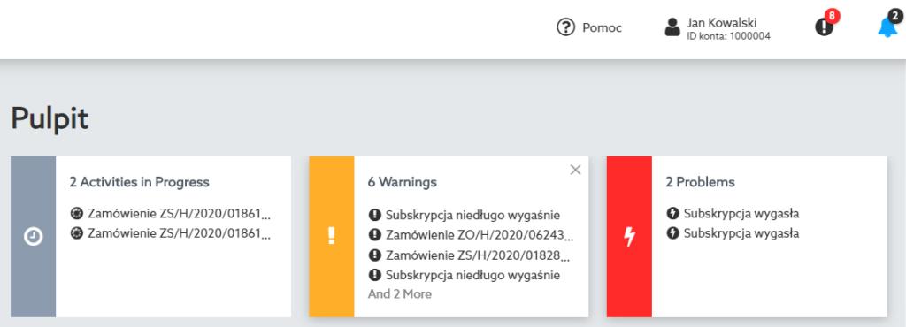 Powiadomienia w Panelu klienta home.pl