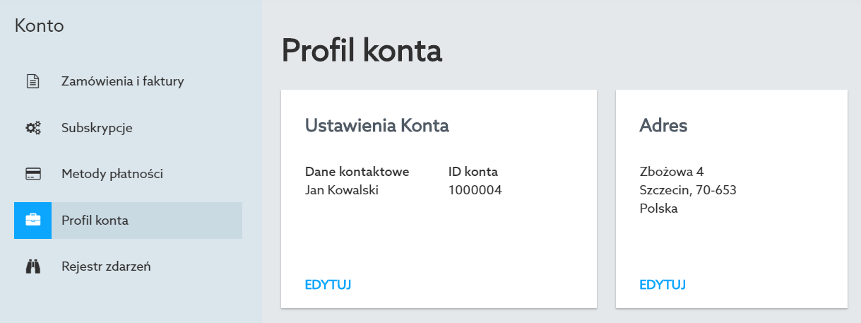 Panel klienta home.pl - Konto - Profil konta - Sprawdź sekcje Ustawienia konta oraz Adres