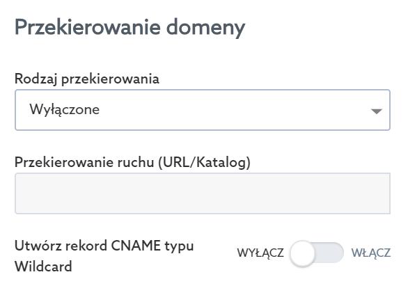 Panel Klienta home.pl - Usługi WWW - Serwer - Opcje - Przypisz domenę - Przekierowanie domeny - Wybierz rodzaj przekierowania domeny