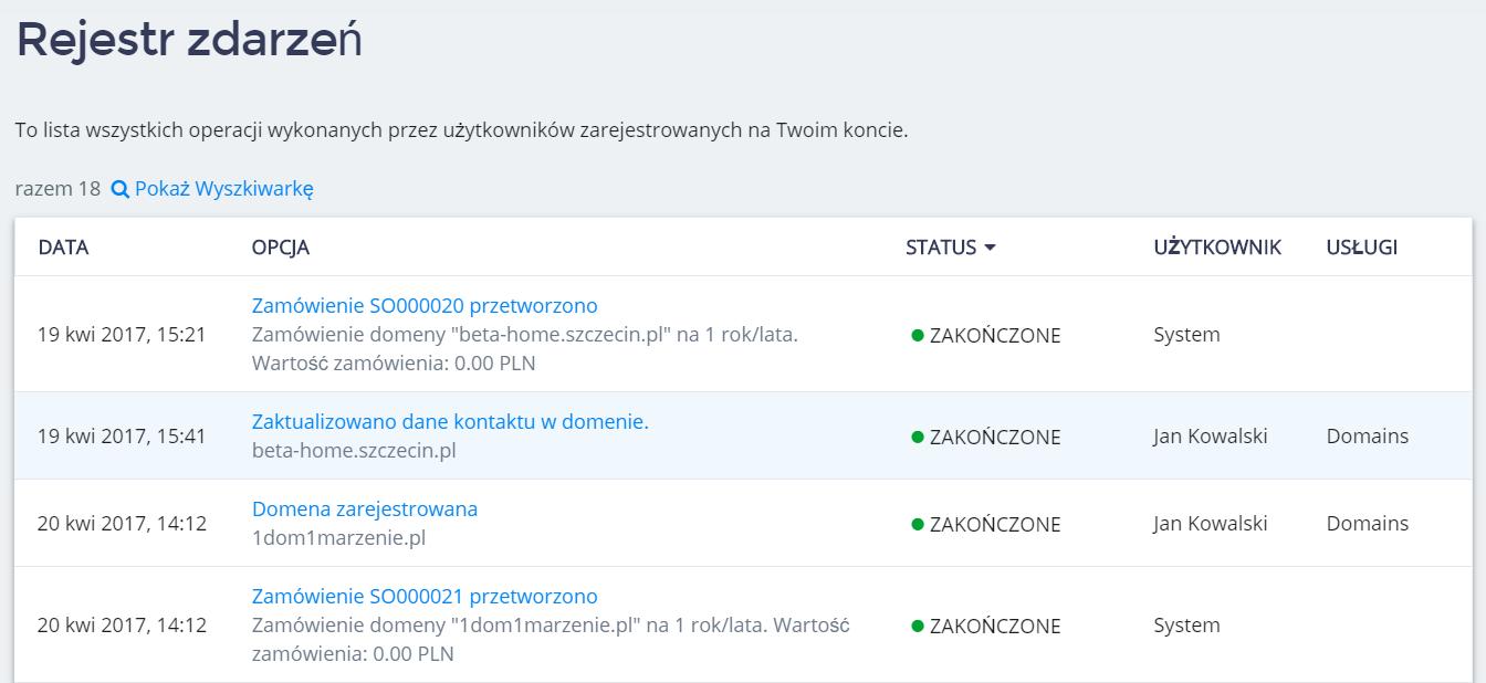 Panel klienta home.pl - Konto - Rejestr zdarzeń - Przykładowa lista rejestru zdarzeń dla całego konta w Panelu klienta