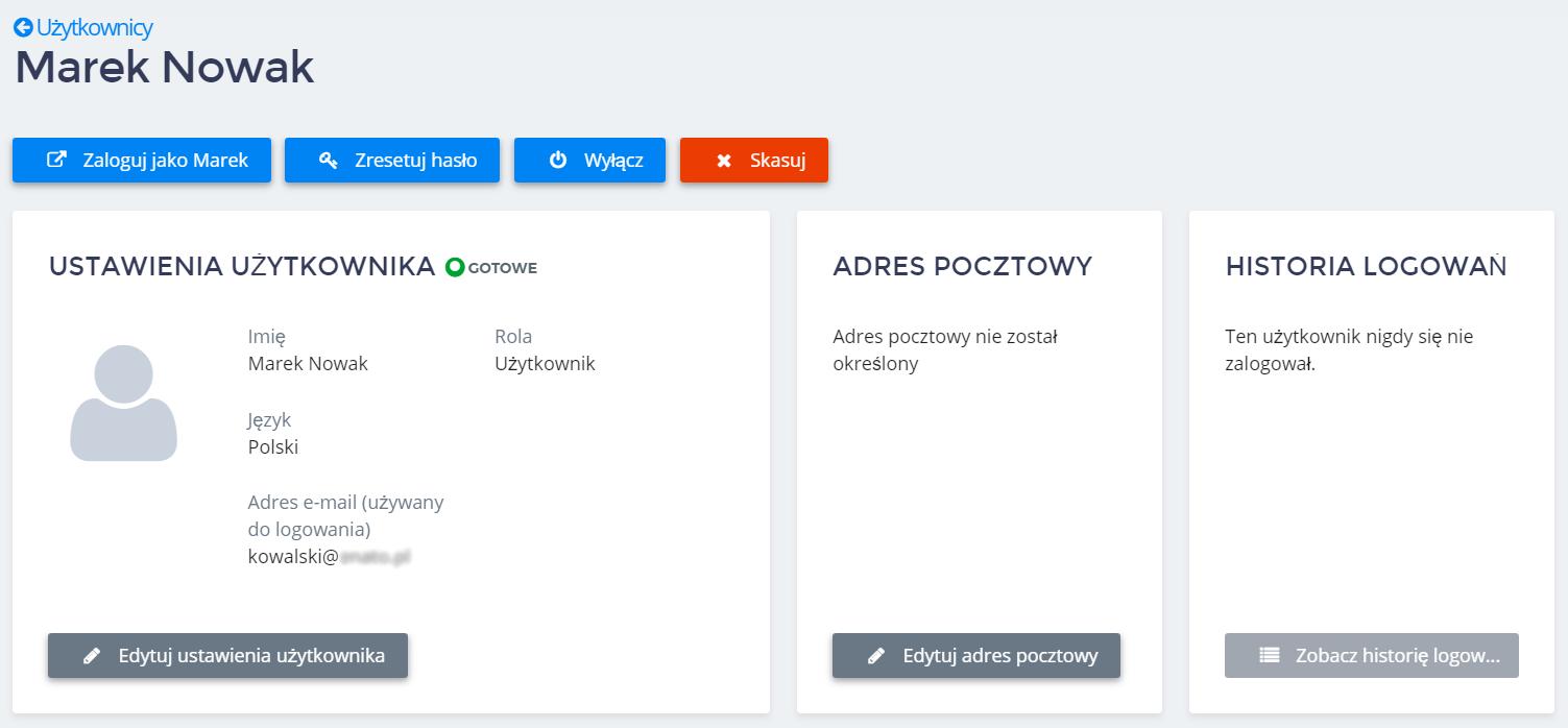 Panel Klienta home.pl - Użytkownicy - Nazwa użytkownika - Kliknij przycisk Zresetuj hasło
