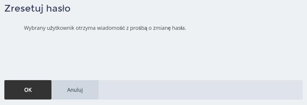 Panel Klienta home.pl - Użytkownicy - Nazwa użytkownika - Zresetuj hasło - Kliknij przycisk OK, aby wysłać do użytkownika wiadomość e-mail, która umożliwi mu nadać nowe hasło dostępu