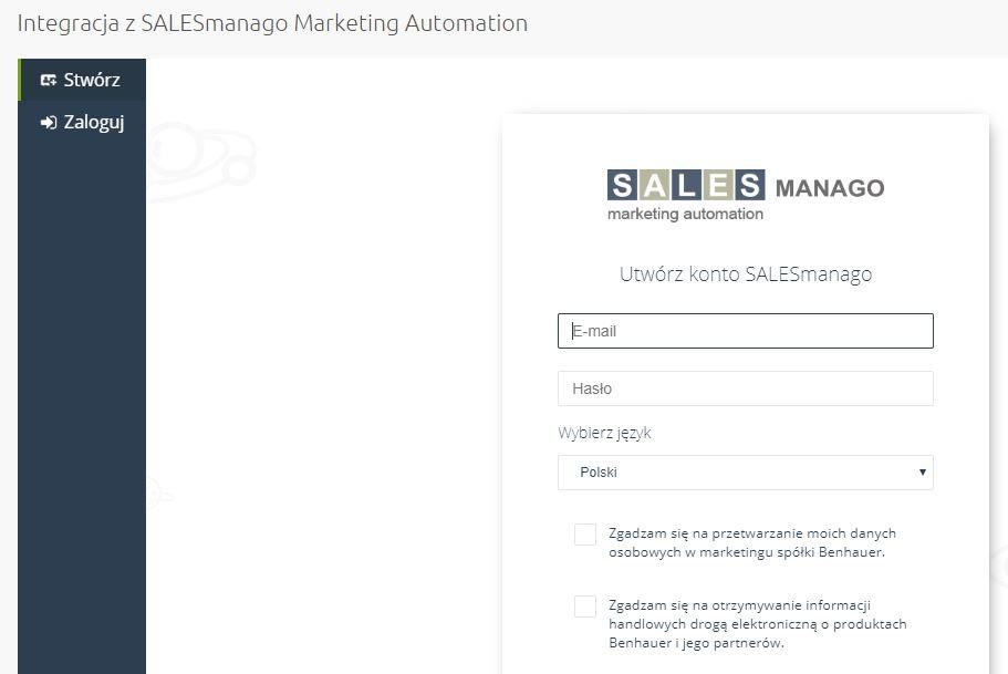 eSklep - Integracja z SALESmango Marketing Automation - Utwórz konto lub zaloguj się