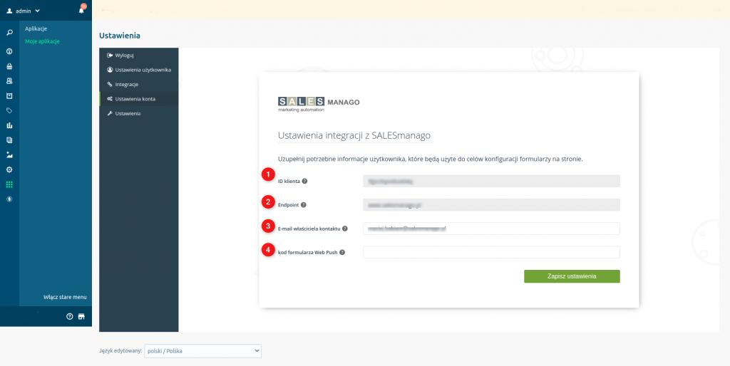 eSklep - Integracja z SALESmango Marketing Automation - Ustawienia konta - Ustawienia integracji - Uzupełnij potrzebne informacje użytkownika