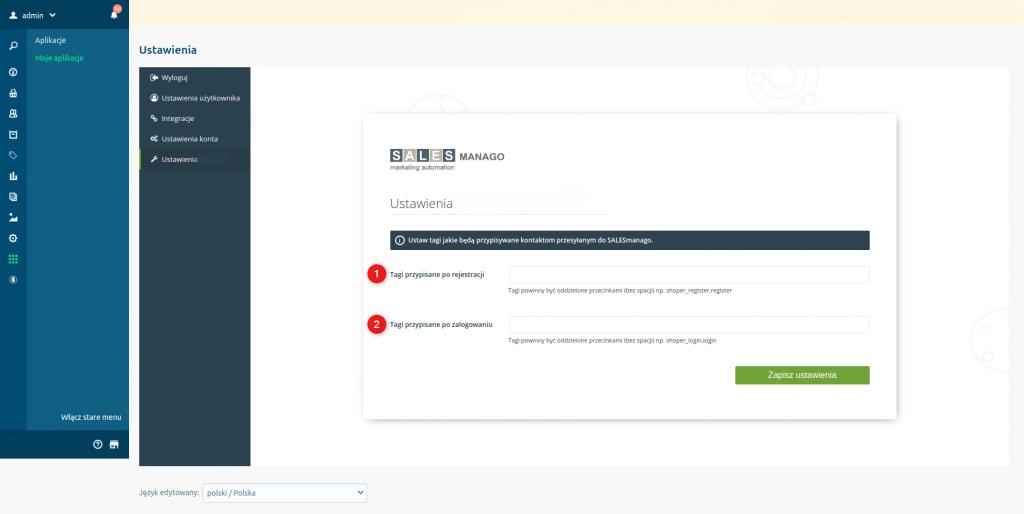 eSklep - Integracja z SALESmango Marketing Automation - Ustawienia - Tagi przypisywane po rejestracji i Tagi przypisywane po logowaniu
