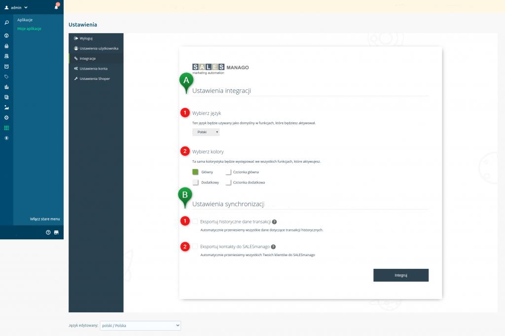 eSklep - Integracja z SALESmango Marketing Automation - Integracje - Ustaw integracje i synchronizacje