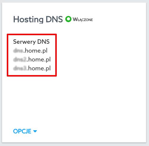 Panel klienta home.pl - Domeny - Wybrana domena - Hosting DNS - Znajdź adresy serwerów DNS, na które powinieneś wydelegować domenę