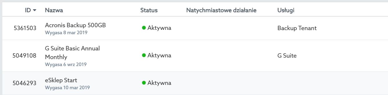 Panel klienta home.pl - Konto - Subskrypcje - Lista - Kliknij nazwę usługi, dla której chcesz ręcznie wygenerować zamówienie odnowienia / przedłużenia