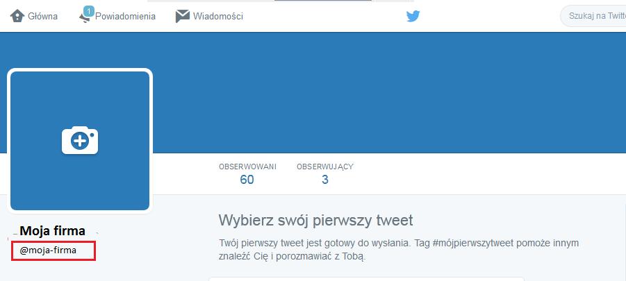 Twitter - Profil - Przykładowy widok ID pod zdjęciem profilowym