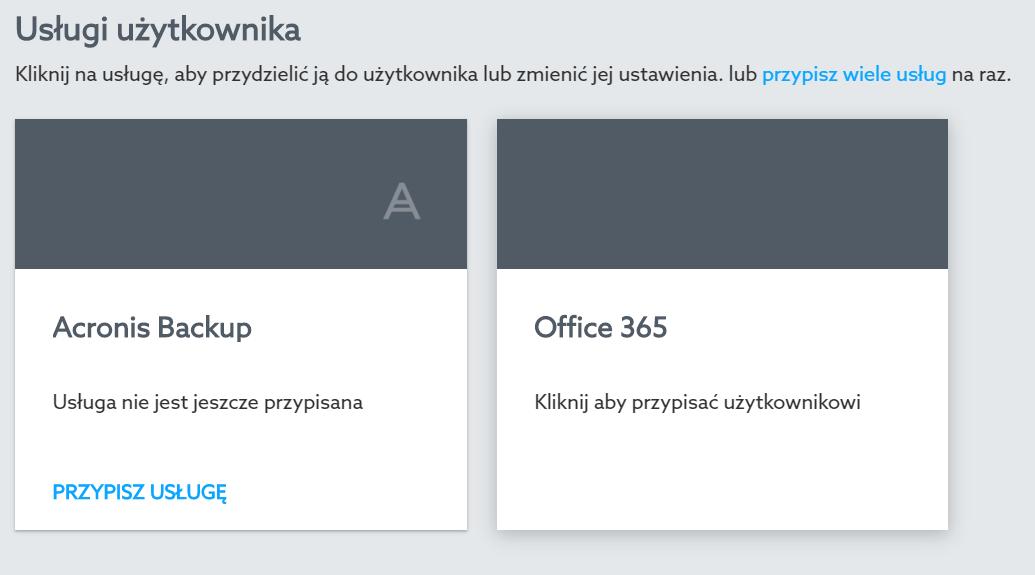 Jak przypisać usługę (np. Office 365, Acronis Backup) do użytkownika w Panelu klienta home.pl?