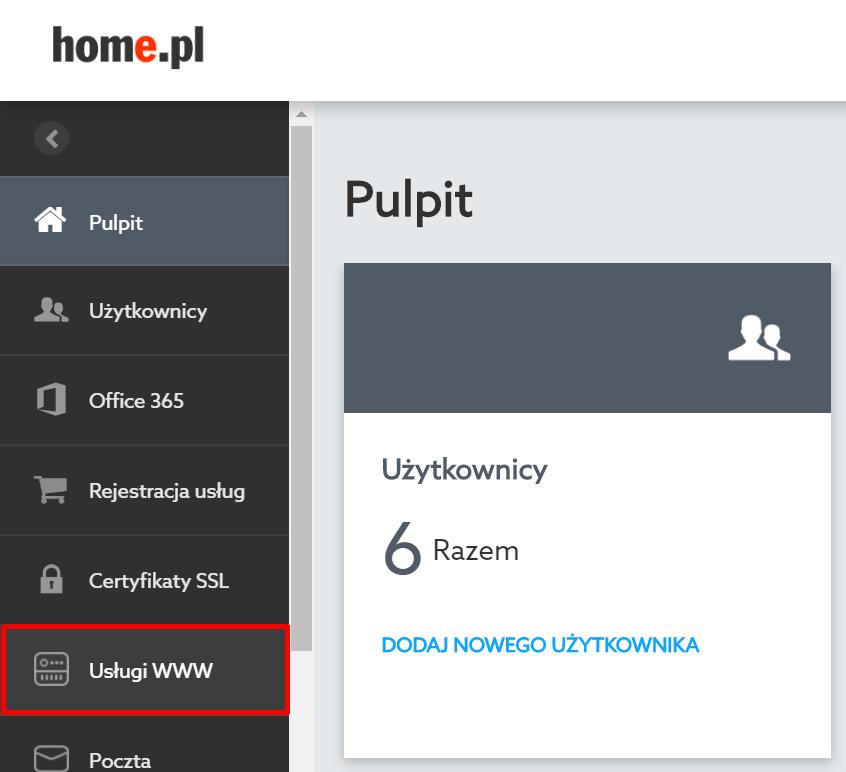 Panel klienta home.pl - Wybierz sekcję menu Usługi WWW