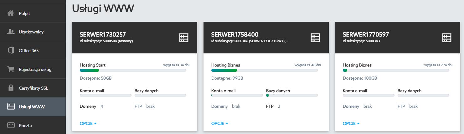 Panel Klienta home.pl - Usługi WWW - Kliknij nazwę wybranej usługi, na której chcesz zainstalować certyfikat SSL