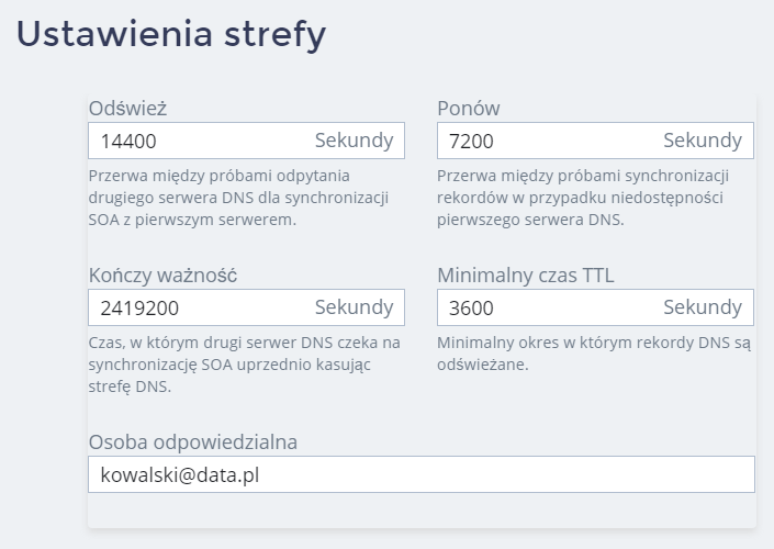 Panel klienta home.pl - Domeny - Wybrana domena - Skonfiguruj DNS hostingu - Edytuj ustawienia strefy - Zmień informację w wybranych polach