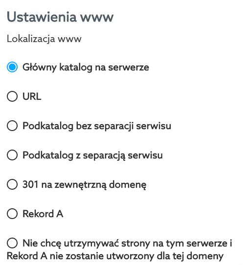 Wybierz w jaki sposób chcesz przypisać domenę do serwera w home.pl