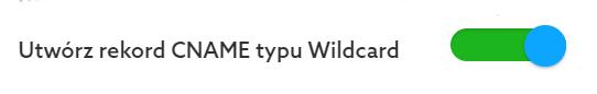 Podczas przypisywania domeny możesz utworzyć rekord CNAME typu Wildcard