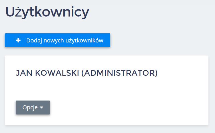 Panel klienta home.pl - Użytkownicy - Kliknij przycisk Dodaj nowych użytkowników