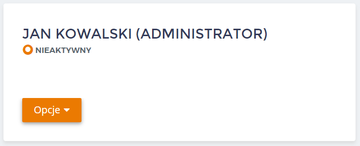 Panel klienta home.pl - Użytkownicy - Lista - Kliknij przycisk Opcje