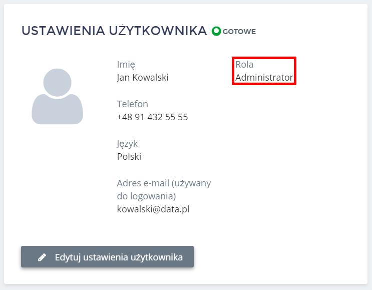 Panel Klienta home.pl - Użytkownicy - Ustawienia użytkownika - W polu Rola zostanie wyświetlona informacja jakie uprawnienia posiada wybrany użytkownik