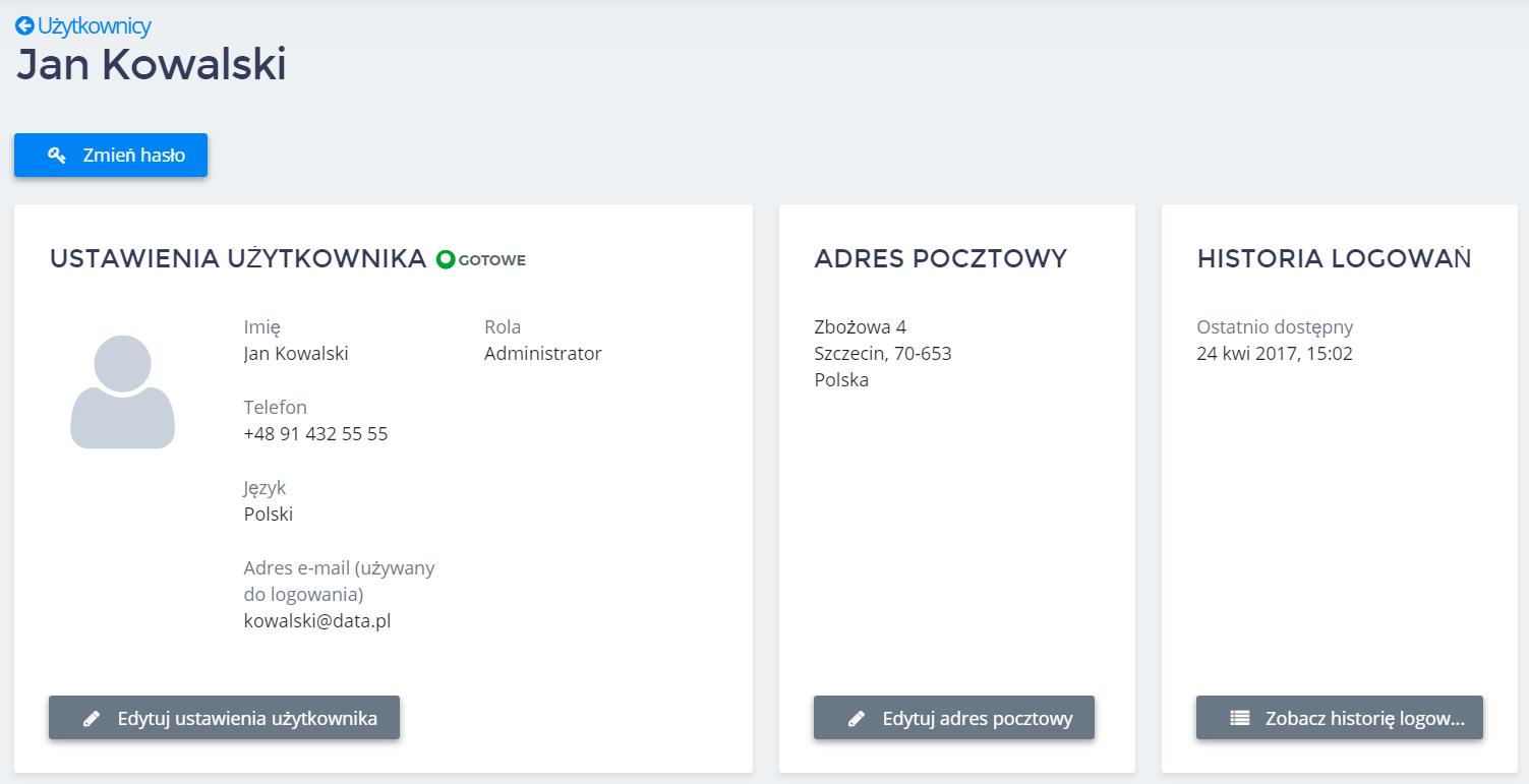 Panel Klienta home.pl - Użytkownicy - Nazwa użytkownika - Kliknij przycisk Zmień hasło