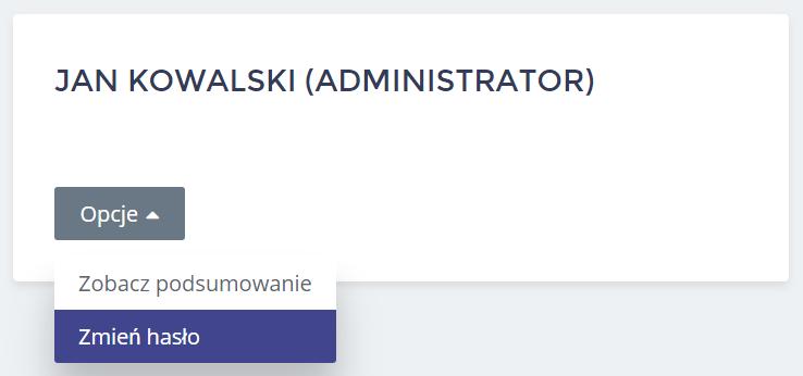 Panel Klienta home.pl - Użytkownicy - Opcje - Kliknij przycisk Zmień hasło