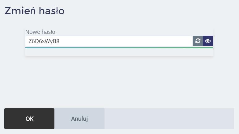 Panel Klienta home.pl - Użytkownicy - Nazwa użytkownika - Zmień hasło - Wprowadź nowe hasło dostępu dla użytkownika