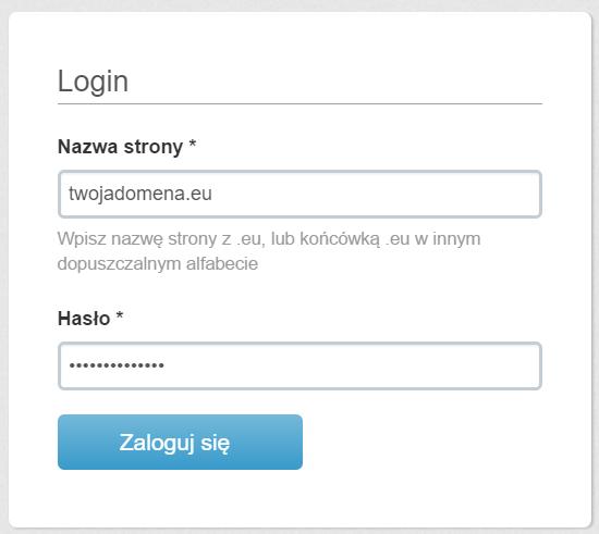 EURid - Okno logowania - Zaloguj się
