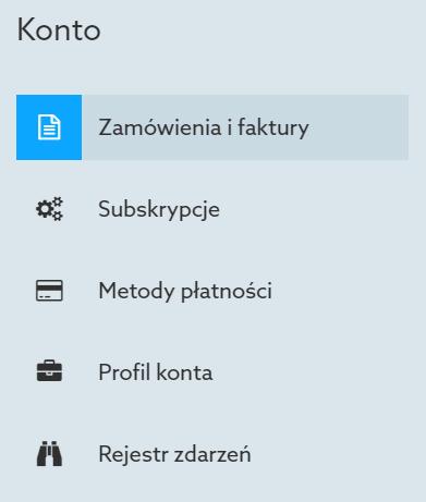 Panel Klienta home.pl - Konto - Wybierz opcję menu Zamówienia i faktury