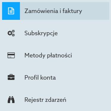 Panel Klienta home.pl - Konto - Wybierz opcję Zamówienia i faktury