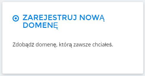 Panel Klienta home.pl - Domeny - Dodaj nową domenę - Zaznacz opcję Zarejestruj nową domenę