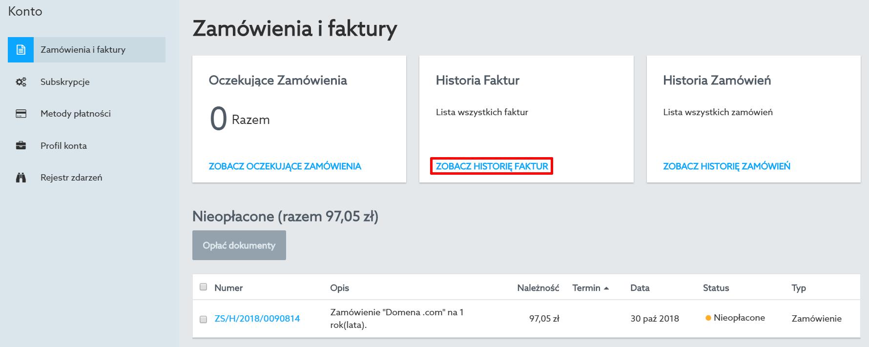 Panel Klienta home.pl - Konto - Zamówienia i faktury - W sekcji Historia Faktur kliknij przycisk Zobacz historię faktur