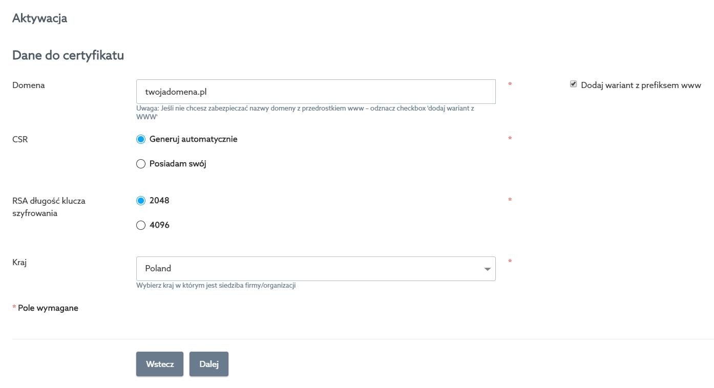 Panel klienta home.pl - Certyfikaty SSL - Wybrany certyfikat - Aktywacja - Aktywuj - Dane do certyfikatu - Wypełnij wyświetlony formularz i kliknij przycisk Dalej