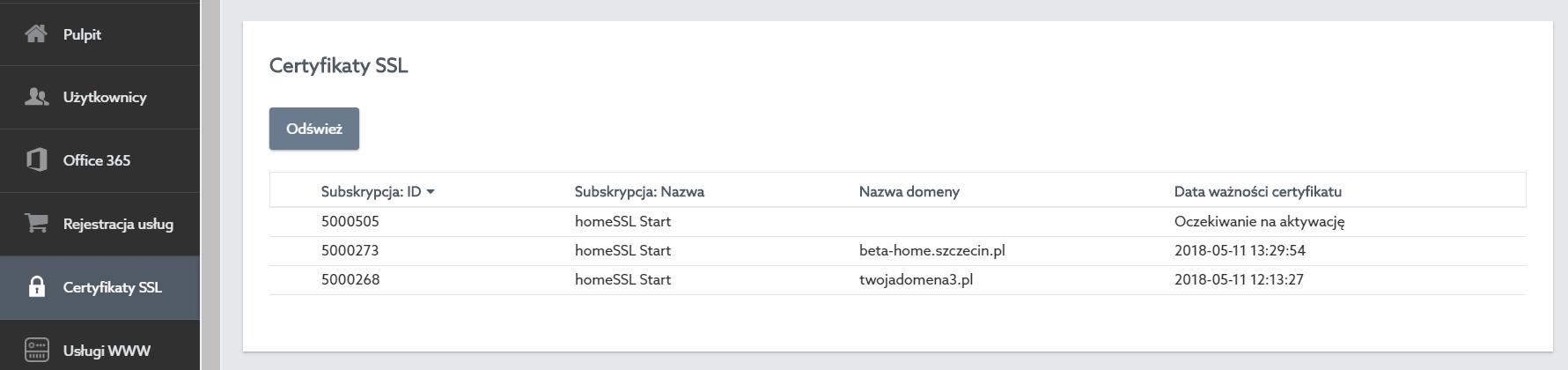 Panel klienta home.pl - Certyfikaty SSL - Kliknij na certyfikat SSL, który chcesz aktywować