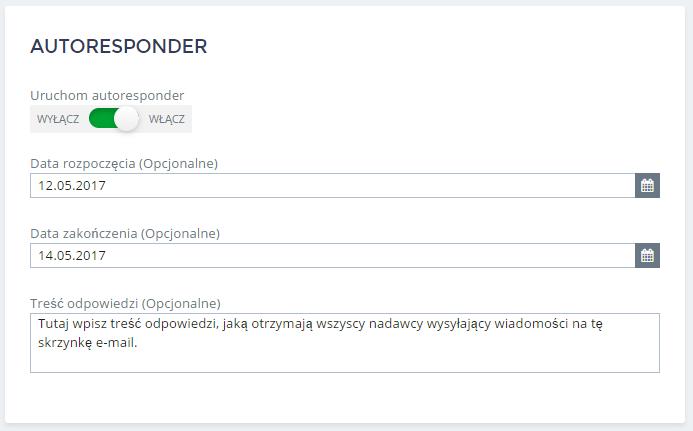 Panel Klienta home.pl - Poczta - Skrzynki e-mail - Autoresponder - Włącz funkcję autoresponder zaznaczając opcję Uruchom autoresponder