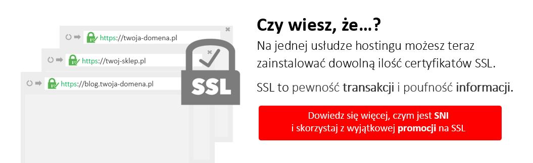 Rejestracja, zamówienie, potwierdzanie zamówienia i instalacja certyfikatów SSL opisane są w naszej bazie wiedzy